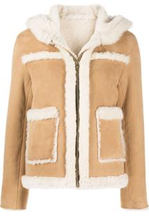 Sandro Paris Hooded Shearling Jacket - Marrom
