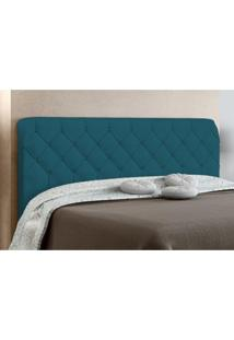 Cabeceira Paris Para Cama Casal Box 160 Cm Azul Velur Textura - Js Móveis
