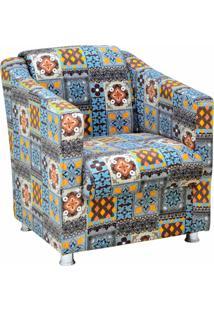 Poltrona Decorativa Tilla Recepção Suede Estampado Azulejo Português D06 - D'Rossi