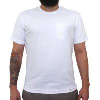 434117f72 Camiseta Clássica Com Bolso Masculina Lisa Branca
