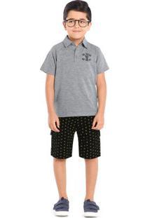 Conjunto Camisa Polo E Bermuda Trick Nick Cinza