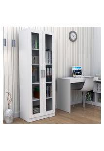 Armário Escritório Appunto Office Plus 2 Portas Vidro 4 Prateleiras