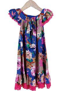 Vestido Infantil Dolce Bambina Floral Azul E Pink