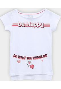 Camiseta Infantil Rovitex Be Happy Alongada Feminina - Feminino-Branco