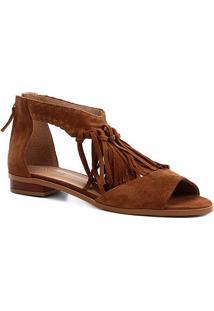 Rasteira Couro Shoestock Franjas - Feminino-Caramelo