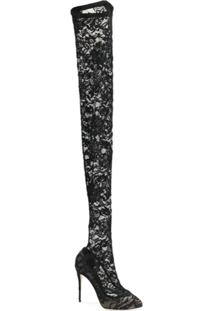Dolce & Gabbana Bota Over The Knee De Couro E Renda - Preto
