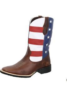 Bota Texana Country Texas Gold Bico Quadrado Eua Marrom - Kanui