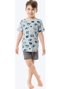 Pijama Cinza Claro Tubarões Infantil