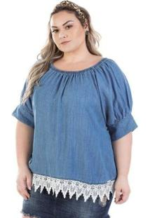 Blusa Jeans Plus Size Ciganinha Molly Manga Curta Feminina - Feminino-Azul