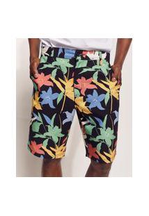 Bermuda Masculina De Sarja Tal Pai Tal Filho Pipe Floral Com Bolsos Preta