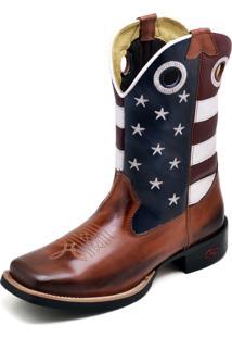 Bota Masculina Americana Texana Cano Medio Couro