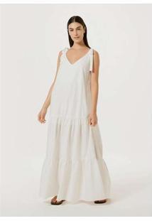Vestido Longo Evasê Com Amarração Off-White