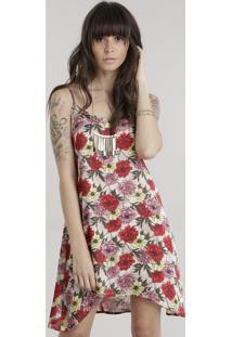 Vestido Assimétrico Estampado Floral Bege