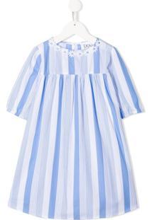 Douuod Kids Vestido Com Listras E Aplicação De Flores - Azul