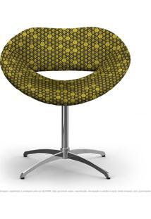 Cadeira Beijo Colmeia Amarelo E Preto Poltrona Decorativa Com Base Giratória