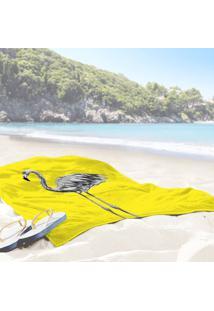Toalha De Praia / Banho Flamingo Yellow One