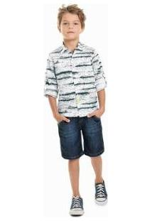 Camisa Infantil Quimby Estampada Masculina - Masculino-Branco