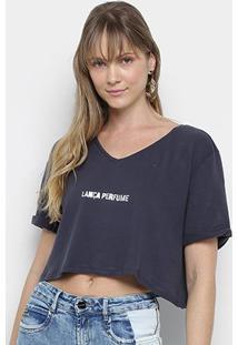Camiseta Cropped Lança Perfume Logo Gola V Feminina - Feminino-Azul