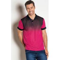 Camisa Polo Com Degradê Frontal Rosa E Preta 06e3b7bbd22ed