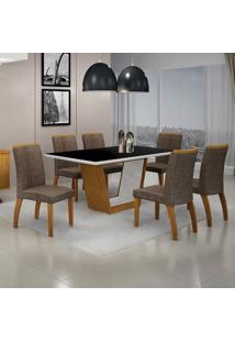 Conjunto Sala De Jantar Mesa Tampo Mdf/Vidro E 6 Cadeiras Linho Alemanha Leifer Flex Color Imbuia
