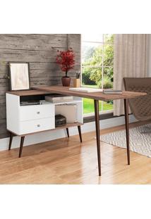 Mesa Para Computador Com 2 Gavetas Retrô 3077 - Movelbento - Branco / Rústico