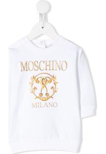 Moschino Kids Blusa Com Estampa De Logo - Branco