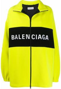 Balenciaga Jaqueta Oversized Com Zíper E Logo - Amarelo