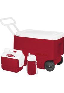 Caixa Térmica 6 Litros Igloo Cooler Wheelie Cool 38 Qt Vermelho - Kanui