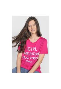 Camiseta Colcci Girl Rosa