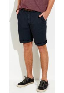 Bermuda Masculina Slim Em Tecido De Algodão Com Cinto