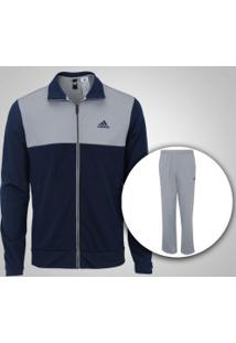 Agasalho Adidas Back 2 Basics - Masculino - Azul Esc/Cinza