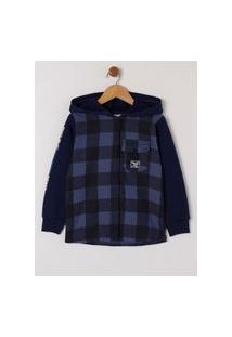 Camisa Com Capuz Manga Longa Infantil Para Menino - Azul