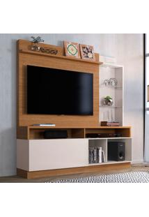 Estante Para Home Theater E Tv Até 60 Polegadas Leblon Marrom E Off White