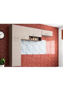 Cozinha Compacta Suspensa Anita 05 Portas Capuccino/Amêndoa - Poquema