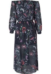 Vestido Mídi Floral Oriental Leeloo - Preto