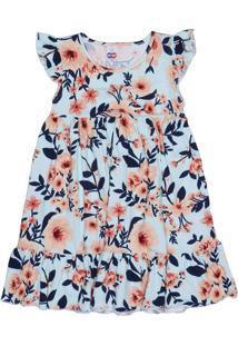 Vestido Floral Com Recorte- Azul Claro & Laranja Claro