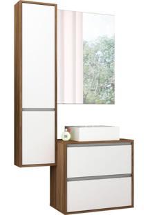 Conjunto Para Banheiro Firenze 1 Pt 3 Gv Nogal E Branco