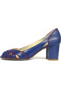Peep Toe Bianti Couro Azul Detalhe De Recortes Vermelho