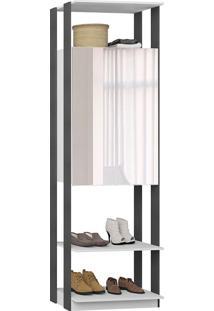 Estante Armário C/ Espelho Clothes – Be Mobiliário - Branco / Espresso