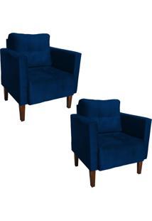 Kit 02 Poltrona Decorativa Lívia Para Sala E Recepção Suede Azul Marinho - D'Rossi