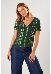 T-Shirt Malha Est Monk Verde Sacada Feminina - Feminino
