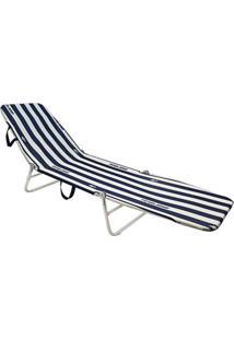 Cadeira Espreguiçadeira Dobrável Mormaii - Listra Azul/Branco