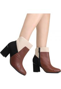 Bota Ankle Boot Piccadilly Cano Curto Marrom