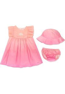 Chloé Kids Vestido Evasê Com Efeito Degradê - Rosa