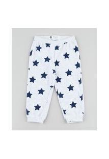 Calça Infantil Estampada De Estrelas Em Plush Cinza Mescla Claro