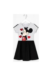Vestido Manga Curta Infantil Estampa Mickey - Tam 5 A 14 Anos | Mickey Mouse | Cinza | 5-6