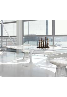 Mesa Saarinen De Jantar Oval Mármore - Base Branca 1,98 X 1,22 Mármore Carrara