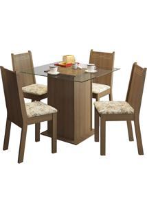 Sala De Jantar Madesa Base De Madeira Com Tampo De Vidro E 4 Cadeiras Lucy - Rãºstico E Liro Bege - Marrom - Dafiti