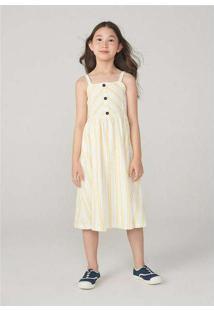 Vestido Midi Infantil Em Malha Atoalhada Off-White