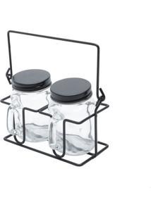 Kit Porta Condimentos Motion Preto 10X10X19